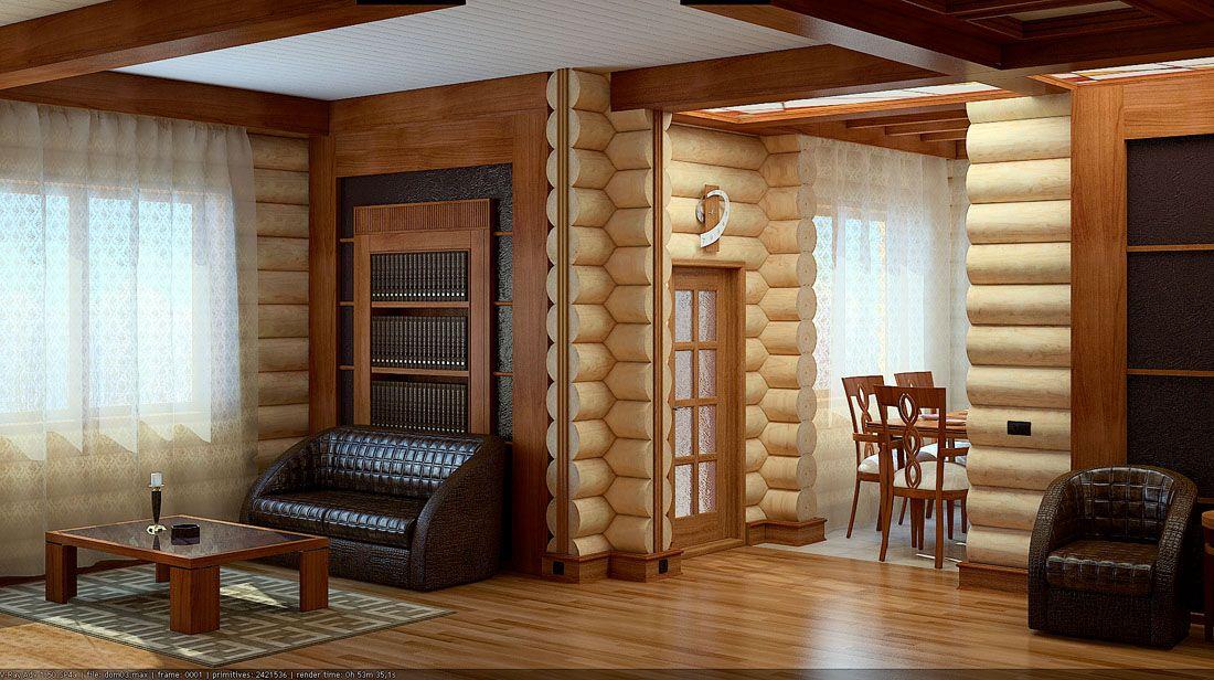 Дизайн интерьера деревянного дома из сруба фото